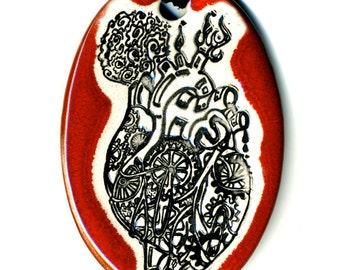 Mechanical Heart Ceramic Necklace in Red