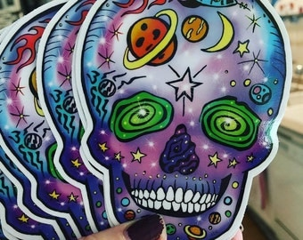 Space Skull Sticker by Surly Amy Davis Roth