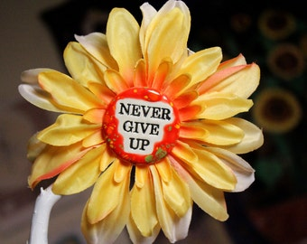 Never Give Up Flower Hair Clip in Orange