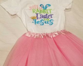 Silly Rabbit Easter is for Jesus Onesie TuTu and Hair Piece Bow