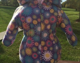 SALE - 18 inch doll jackets , pretty multi colored sprocket design liined , hooded parka style jacket for your favorite doll