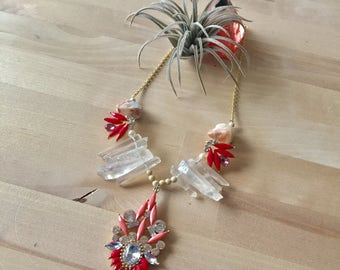 Vivienne coral and peach rhinestone and crystal point statement necklace