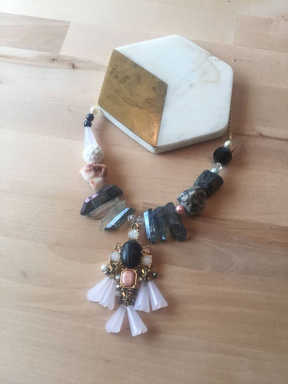 Elizabeth Necklace Pink & Blue Mixed Media Crystal and Stone Statement Necklace
