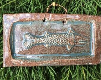 Fish Tile in Antique Blue Glaze