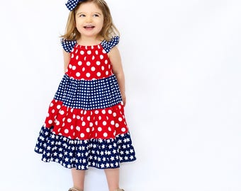 Girls 4th of July Dress -  Girls Dress - 4th of July Outfit - Girls Summer Dress - Girls Patriotic Dress - Girls 4th of July Outfit - Twirl