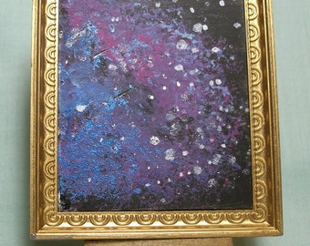 Original Painting Titled Outer Space by Samantha Dial for a 1:12 Scale Doll House Easel is Included