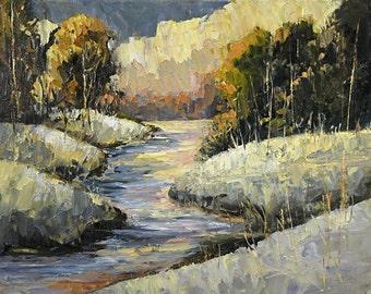 Bobbi Doyle Maher Original painting 8x10 Impressionist Landscape Snowscene palette knife