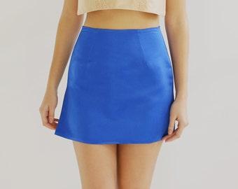 Sample SALE - blue satin and silk miniskirt