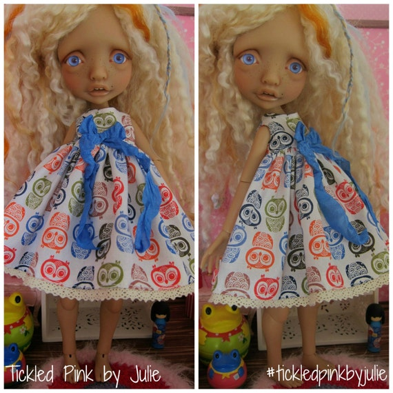 Owl Print Babydoll Dress for Mystery BJD by Tickled Pink by Julie