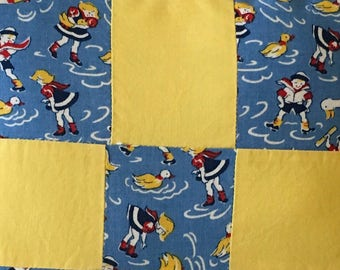 Upcycled quilt piece, upcycled popcorn chenille, patchwork pillow, cottage chic, porch pillow, sailor girls boys, primary colors, children