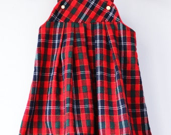 Vintage GOOD LAD of Philadelphia girls 5 jumper tunic dress 80s eighties style plaid flannel red gold brass buttons vtg