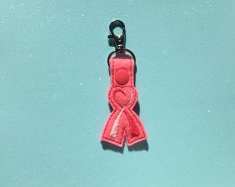 Breast Cancer Awareness Ribbon Keychain, Key fob, Embroidered