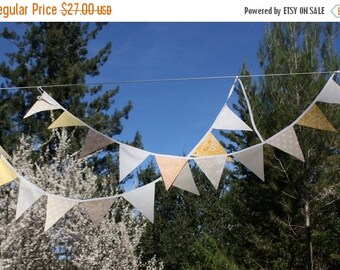 Entire Shop On SALE Downton Abbey Theme Fabric Bunting Banner, Party Flags Prop Decoration in Cream and White. Designer's Choice Garland Bun