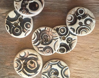 FREE SHIPPING Set of 7 Handmade Ceramic Buttons - Dark Brown Circles