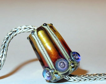 Luccicare Lampwork Bead - Amber Madame - FOCAL - Lined and Capped with Brass