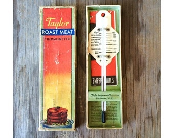1940s Meat Thermometer by Taylor with Recipe Book