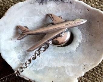 1960 Boeing 747 Tie Tack - Sterling Silver