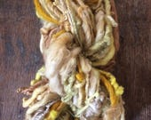 Wheatfield in Sunshine handspun naturally dyed mixed fiber art yarn 50 yards single ply bulky weight