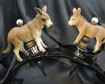 Donkey and Foal Pair Burro Wine Stoppers Bar Gift