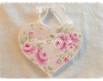 Heart Plaque Sign Shabby Chic Hand Painted Pink Roses ECS sct schteam SVFTeam