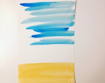 watercolor, landscape, original, 6x9, minimal, abstract, blue and yellow