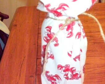 Lobster seafood  nautical coastal holiday wine gift bag hostess gift holiday party dinner jute tie