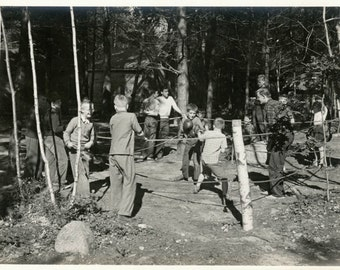 vintage photo 1943 Boys Camp Quinnebarge New Hampshire Boxing Ring Match
