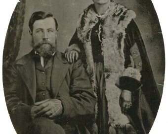 vintage photo 1890s Beautiful Man Ermine Fur Caped Wife Uncle Tom Mercer Lowry Large