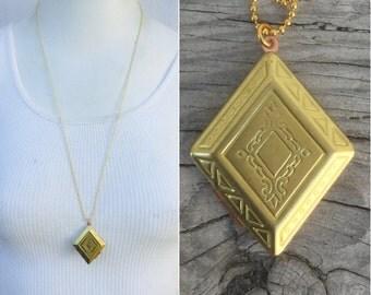 "Fancy Diamond Locket necklace. 1.5"" Classic Vintage nos *BULK OPTIONS* chunky pendant charm gold brass bridesmaids  K40"