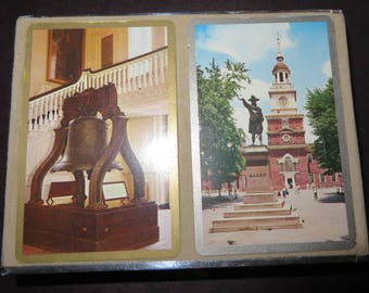 Congress playing cards Independence Hall Liberty Bell set Vintage souvenir Philadelphia Pennsylvania