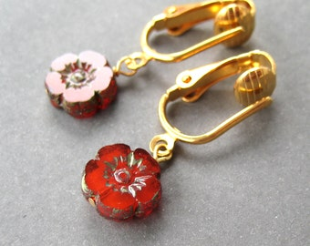Brick Red Flower Clip-on Earrings, Gold Ear Clips, Petite Hibiscus Dangle Clip Earrings for Non Pierced Ears, Small Lightweight, Maui Gold