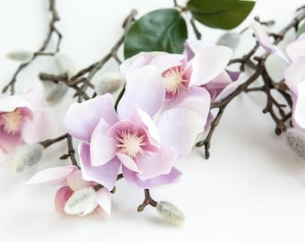 7 Magnolia Flowers in Light Purple, Pink and Ivory on Short Stems Plus 7 Buds - Read Description - ITEM 0178