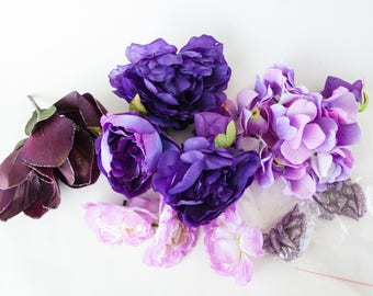 GRAB BAG #6 - Over 10 Small to Large Flowers in Purple Tones - Silk Artificial Flowers