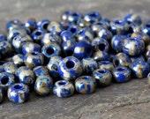 Picasso Royal Blue White Stripe 6/0 Czech Glass Seed Bead : 25 grams Blue Striped Picasso Seed Bead
