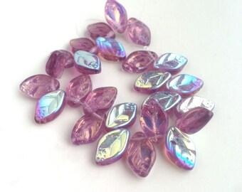 Purple ab Leaf Beads Czech Glass