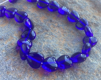 Blue Heart Beads Glass Czech Pressed 8mm