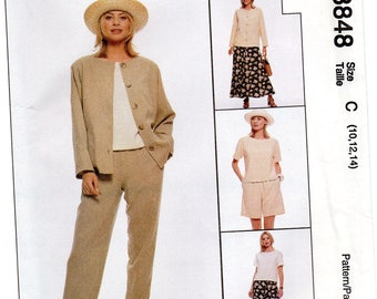 McCall's 8848 Misses Unlined Jacket,Top,Pull-On Pants,Shorts And Skirt Uncut Pattern Size 10-12-14 Copyright 1997