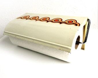 Rare Vintage 70s Enamel Brabantia Paper Towel Holder - Mod Bayon Pattern - Dutch 1970s Metal Wall Storage Kitchen Decor