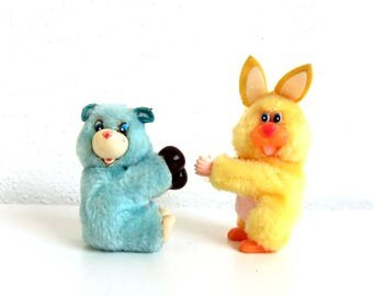 2 Vintage 1980s Clip-on Plush Toys, 80s Pencil Hugger Dolls, Boxing Blue Care Bear Fakie and Yellow Bunny Rabbit, Clasp on Toy