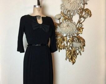 Fall sale 1950s dress black dress parnes feinstein cocktail dress size medium vintage dress 28 waist