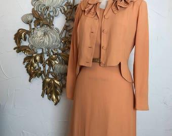 RESERVED 1940s dress set julette dress crepe dress film noir vintage dress set size medium dress and jacket 36 bust