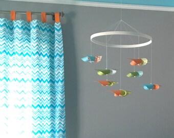 Custom Baby Crib Mobile / Custom Nursery Mobile / Ceiling Hung Mobile / Baby Boy Mobile / Orange, Blue, Green, White : The Waddington