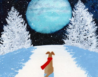 Fawn Greyhound Dog Winter Folk Art PRINT of Todd Young painting WINTER SHADOW