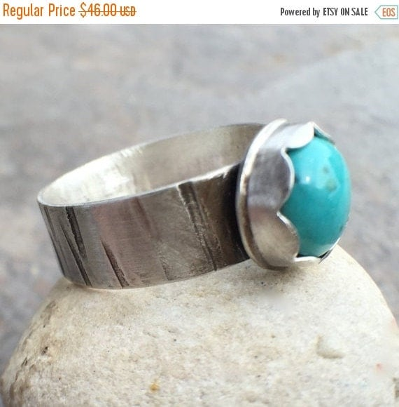 25% Off - Turquoise Sterling Silver Wide Band Bezel Set Ring - US Size 9