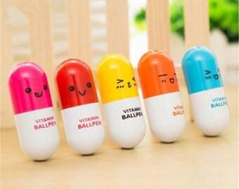 Vitamin Pen, Vitamin Ballpoint Pen, Set of 3 Pens, Black Ink Vitamin Shaped Pens, Stationary Supply Pens, Kawaii Pens, Pill Pens