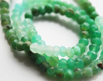 Half or full  Strand, Natural Chrysoprase Faceted Rondelle Beads, 4x2 MM