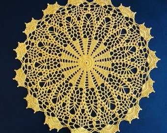"""New Handmade Crocheted """"Mediterranean Lace - Plate Size"""" Doily in Goldenrod - 13.5"""""""