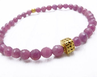 ruby bracelet, Valentine gift for her, ruby jewelry, July birthstone jewelry, ruby jewelry, ruby and gold bracelet, ruby gift, ruby gemstone
