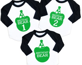 Size 2 Birthday Bear Raglan Sleeve Baseball TShirt with Green Print - Kids Sizes - First Second Third Birthday Party Gift