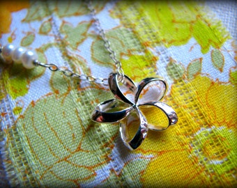 Plumeria Necklace, Sterling Silver, Small Petite, Hawaii Aloha Flower